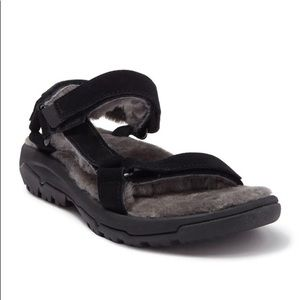 TEVA Hurricane Shearling Lined Black Suede Sandals